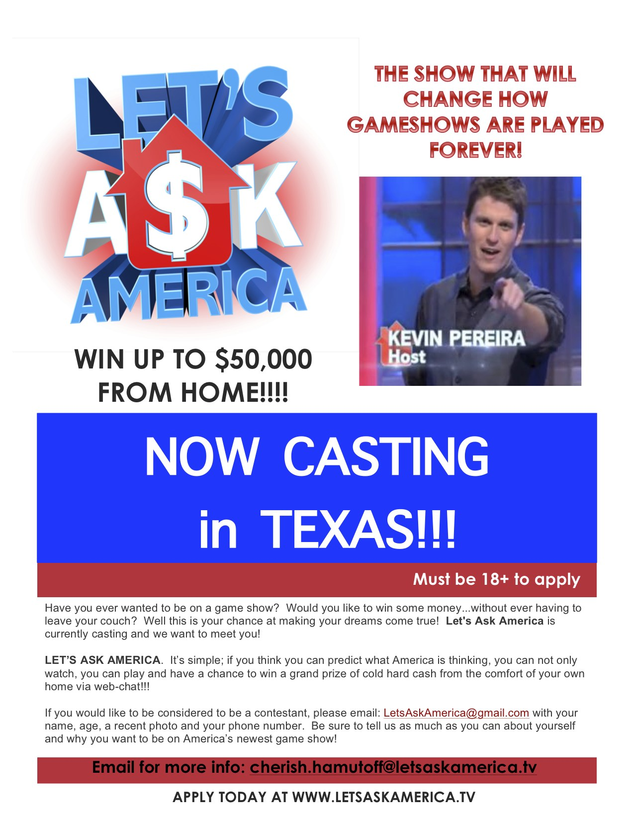 Lets ask america game show is searching for texas contestants have you ever wanted to be on a game show would you like to win some money without ever having to leave your couch well this is your chance at making your solutioingenieria Images